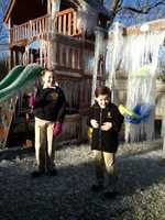 Isabella and August Richoux playing in their backyard Winter Wonderland. u local member: JFMD