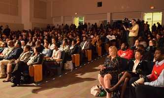 A standing-room-only audience watched the candidates for mayor debate at Georges Auditorium.