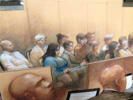 Monday, Feb. 10(Sketch by Carol Peebles)The jury was delivered lunch and began deliberations at about 1:30 p.m. Monday.The jury broke for the day without a verdict at about 4:45 p.m. and will return to deliberations at 9 a.m. Tuesday.They were given the case Monday afternoon after instructions by U.S. District Judge Helen Berrigan and closing arguments by prosecutors and the defense.Federal prosecutors on Monday summed up their case for convicting former New Orleans Mayor Ray Nagin of corruption during his two terms as mayor -- a period that included the devastation of Hurricane Katrina in 2005.