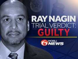 Wednesday, Feb. 12A jury returned a verdict Wednesday afternoon finding former New Orleans Mayor C. Ray Nagin guilty on 20 of 21 corruption-related charges.Nagin, 57, was convicted on one count of conspiracy, five counts of bribery, nine counts of wire fraud, one count of money laundering and four counts of filing a false tax return.He was found not guilty on one count of bribery, stemming from an alleged bribe involving Rodney Williams.Nagin will be sentenced on June 11.Click here to read the full story on the former mayor's conviction.