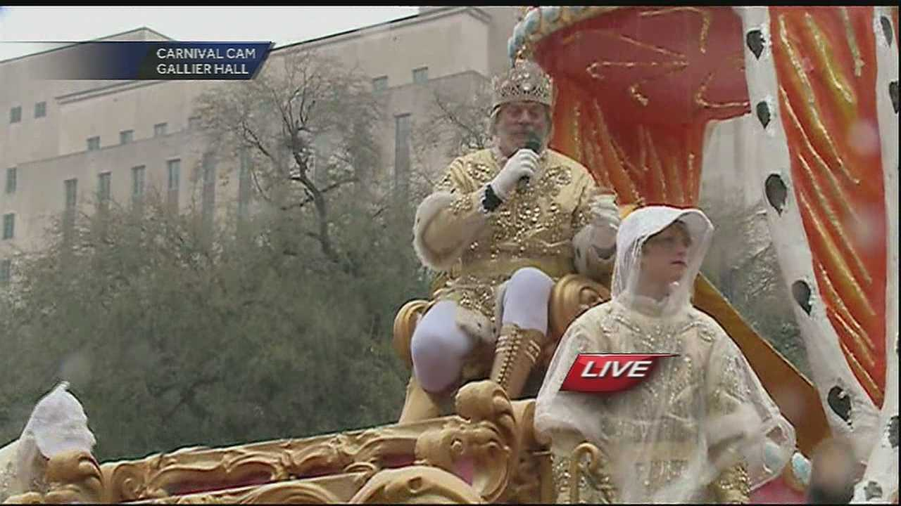 Hail Rex! King of Carnival makes toast at Gallier Hall