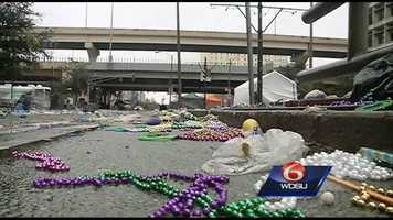 After the parades, revelry and fun, the mess of Mardi Gras is left behind. Cleaning crews sweep through the city to collect the beads, plush toys and trash that are left behind after the culmination of Carnival.