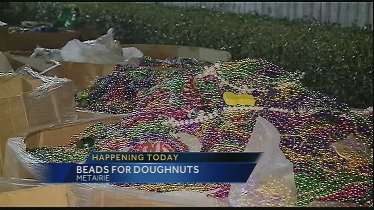 Wednesday is your last day to trade in your old Mardi Gras beads for a fresh batch of Krispy Kreme doughnuts.