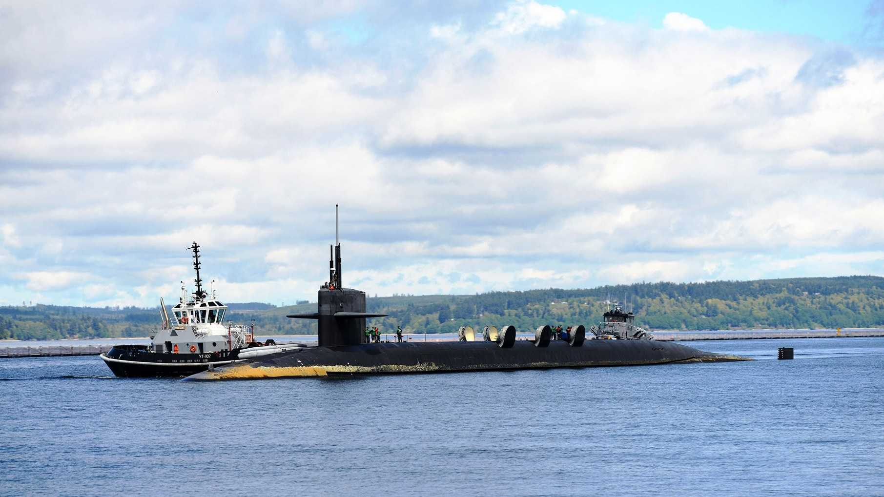 BANGOR, Wash. (April 22, 2014) USS Louisiana (SSBN 743) cycles its missile hatches as the boat's Blue Crew returns home to Naval Base Kitsap-Bangor following a strategic deterrent patrol.