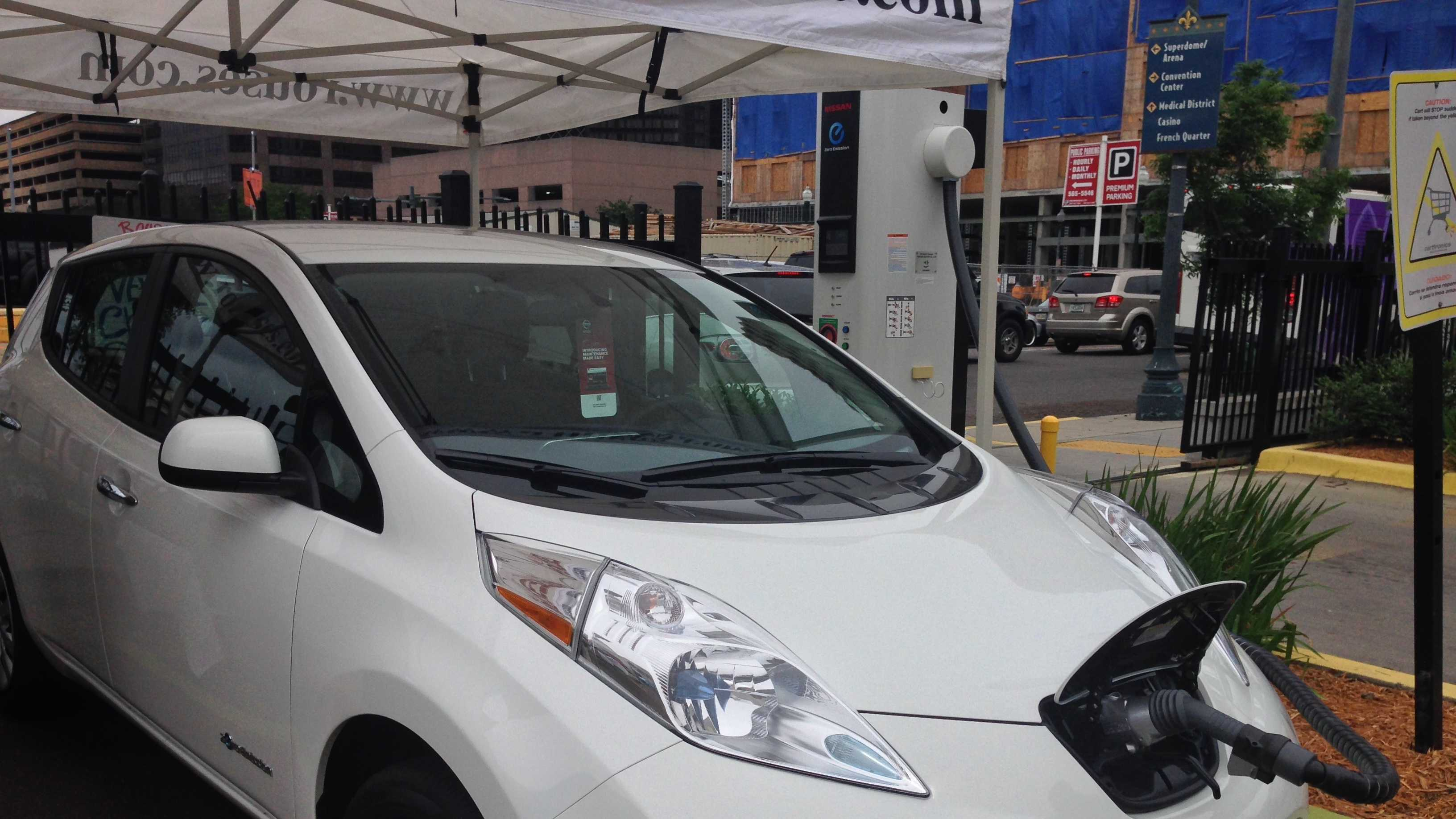 Rouses electric car quick charger is an innovative addition to downtown New Orleans.