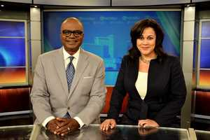 Norman and Camille Whitworth at the anchor desk.