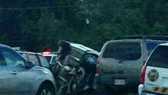 Wreckage from the deadly accident that shut down Hwy. 190 in Mandeville.
