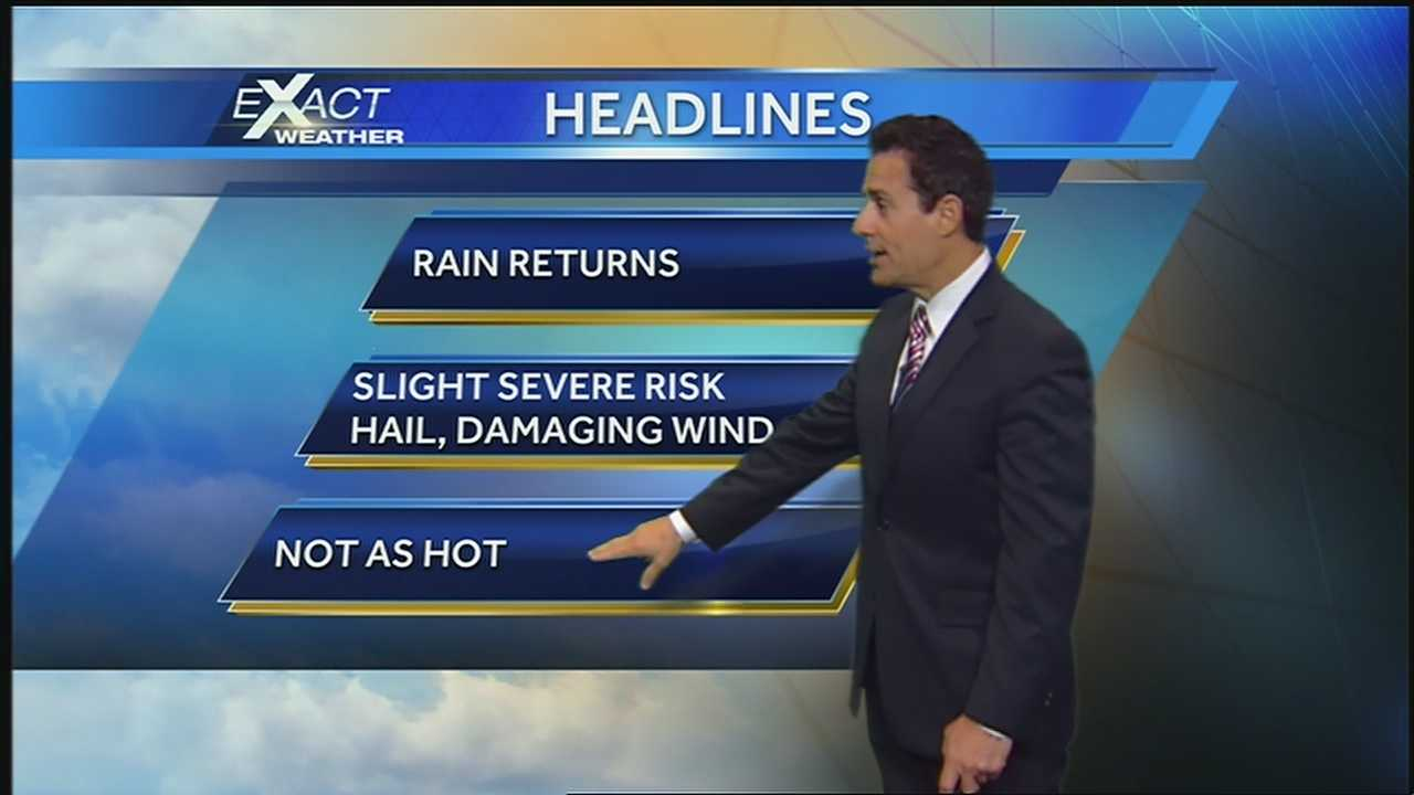 An upper level low will pass bringing showers and thunderstorms