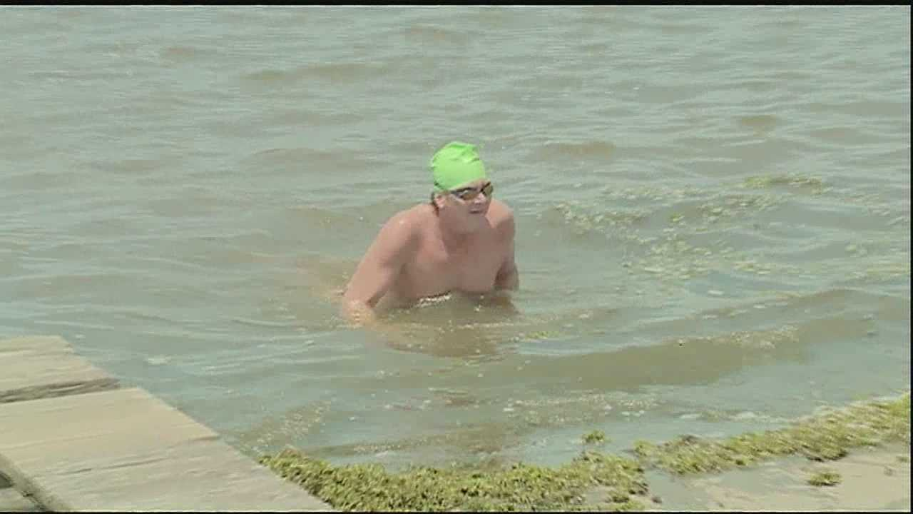 Swimmer goes the distance across the lake