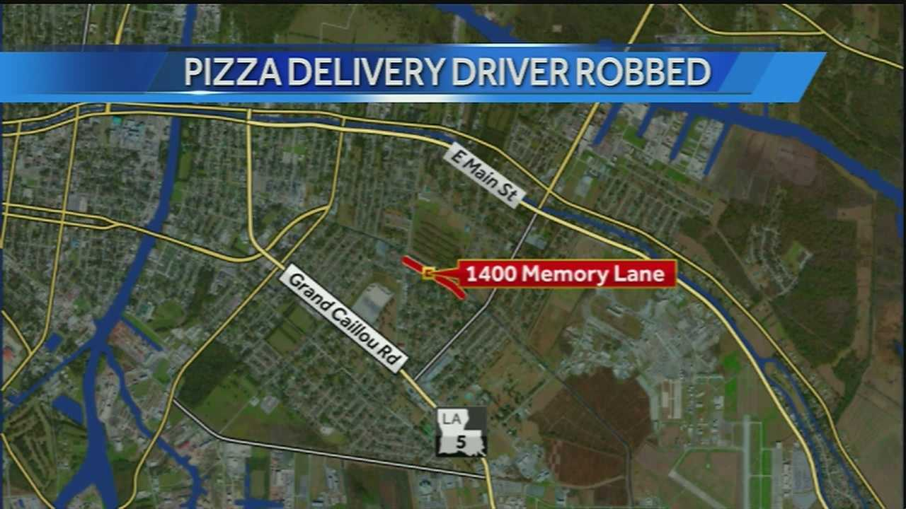 According to a news release from the Houma Police Department, a Domino's Pizza delivery driver was bringing a pizza to a home in the 1400 block of Memory Lane.
