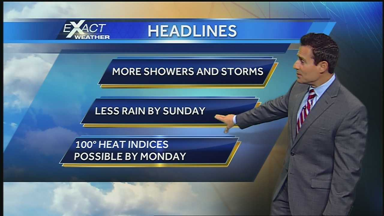 Low pressure, abundant moisture an daytime heating will bring more showers and storms