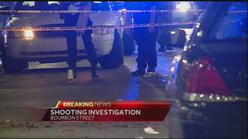 The shooting happened about 2:45 a.m. in the 700 block of Bourbon Street.