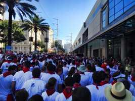 Hundreds of runners and fun seekers flooded the Warehouse District early Saturday morning for the annual San Fermin in Nueva Orleans -- The annual Running of the Bulls.
