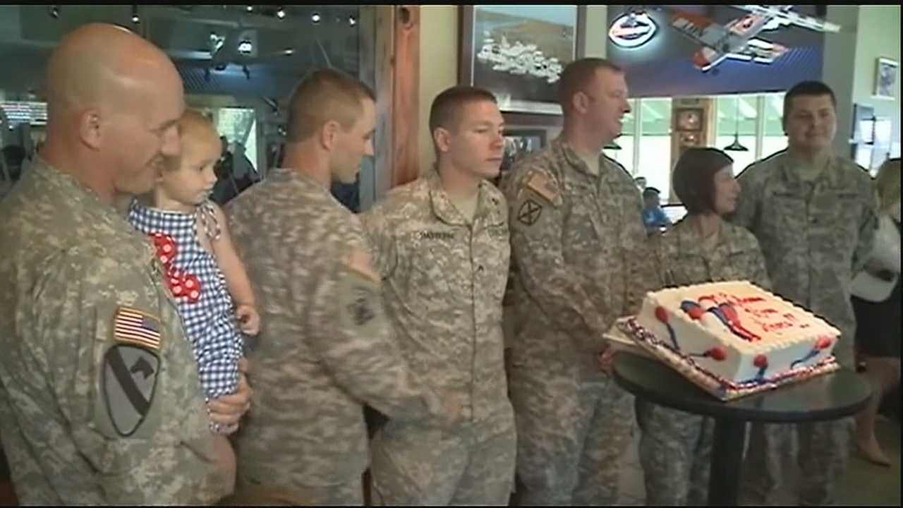 Troops returning home from overseas get a well deserved welcome home party