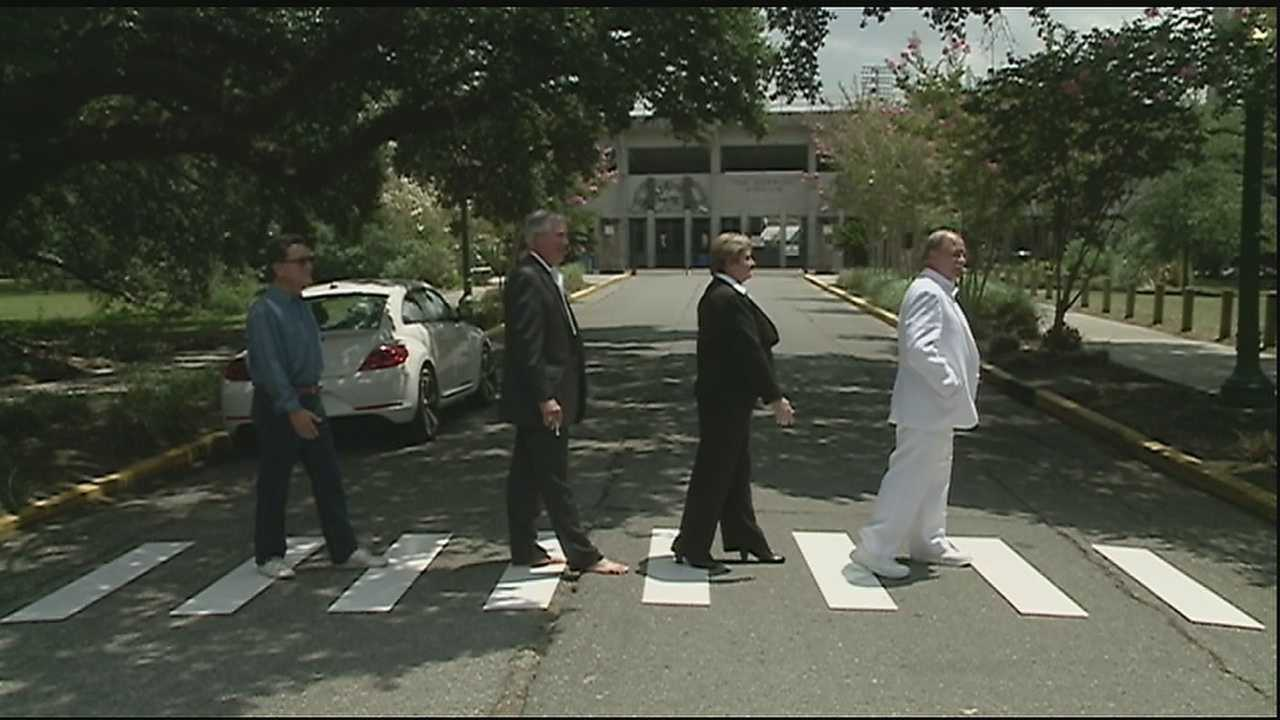 City leaders recreated the iconic Abbey Road image to celebrate the anniversary