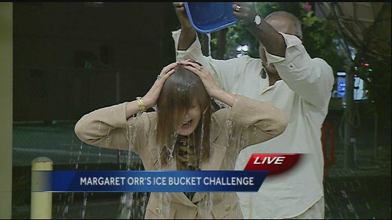 Margaret Orr does the ice bucket challenge