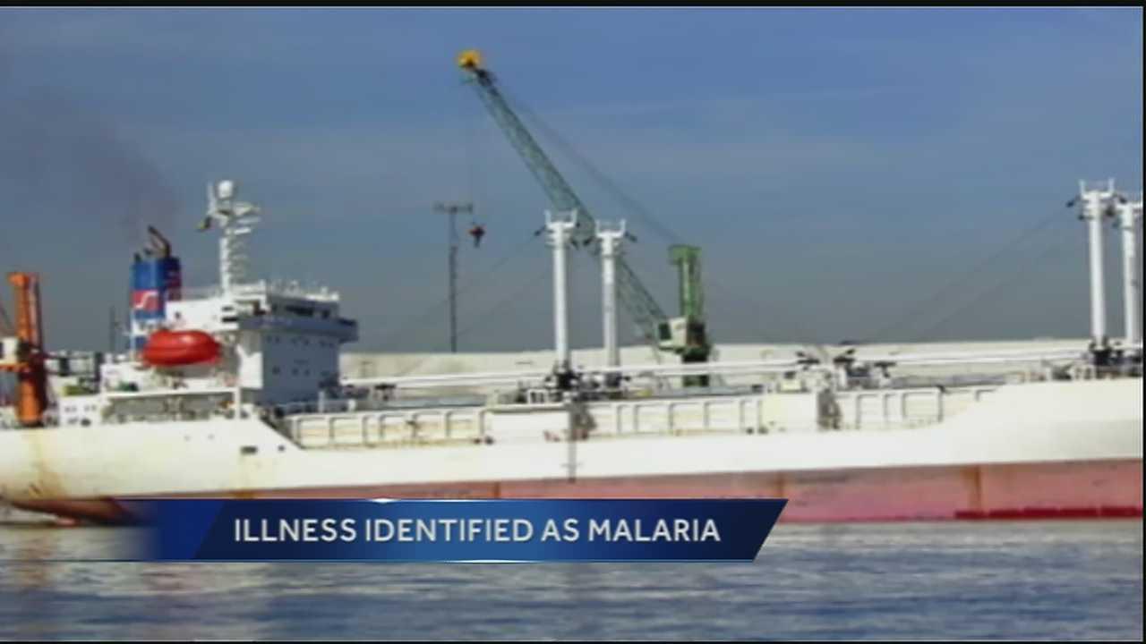 Official confirms 1 person aboard African ship has malaria