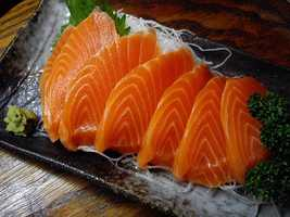 Salmon is naturally a grayer shade. The pink color often comes from pigment pellets fed to krill that are then consumed by the fish.