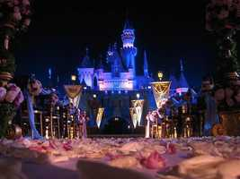 Some brides-to-be dream of being whisked off by their Prince Charming in front of a fairytale castle.  That's exactly what can happen if you opt for a wedding at The Sleeping Beauty Castle Forecourt at Disneyland, complete with arrival in the Crystal Coach.