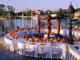 If the waterways of Venice and Italian romance inspire you and your loved one, you'll want to check out the Italy Isola for your reception. Not only does the area have prime viewing for IllumiNations: Reflections of Earth, your guests will have a perfect view of gondolas beside the Italy Pavilion.
