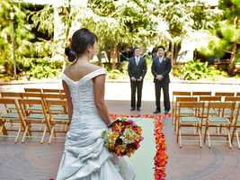 There are several spots for a wedding at Disney's Grand Californian Hotel & Spa, just steps away from Downtown Disney in California.  The Brisa Courtyard puts guests in the middle of lush landscaping and American Craftsman-style architecture.