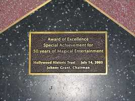 Award of Excellence - Special Achievement for 50 years of Magical Entertainment.  Hollywood Historic Trust. July 14, 2005.