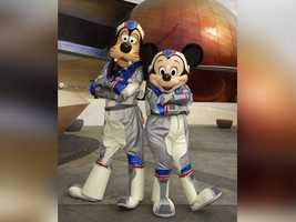 Space exploration never looked so cool. Mickey and Goofy don spacesuits for a ride on Mission Space.