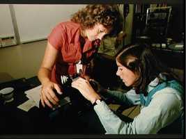 Teacher in Space trainees work with Arriflex motion picture camera
