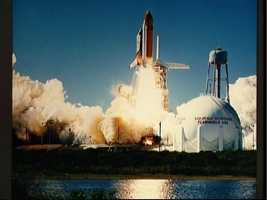 Liftoff of the Shuttle Challenger for STS 51-L mission