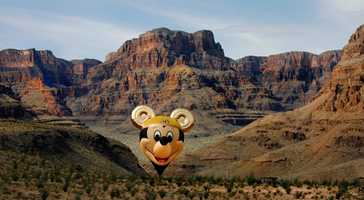 The Happiest Balloon on Earth took a flight over the Grand Canyon ahead of Disneyland's 50th anniversary.