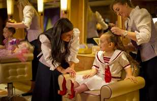 Each princess-to-be will get their very own Fairy Godmother who helps in the tranformation.