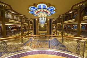 The first atrium chandelier is the Disney Dream.