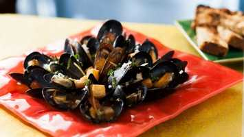 Mussels Provencal - with White Wine, Tomato, Garlic, Onion, Basil, and Butter