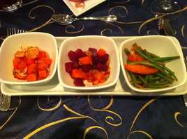 Salad Trio - Three individual bowls of : Roasted Beet, Gold Raisin, and Orange Salad&#x3B; Green Bean, Tomato, and Roasted Shallot Salad&#x3B; Watermelon, Radish, and Mint Salad
