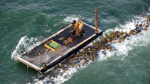 Stuck barge