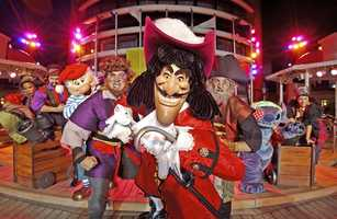 The party features dancing and one of Disney's original pirates -- Hook!