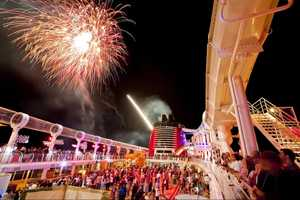 The fireworks are synchronized with music.