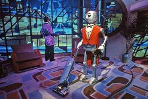 The first scene of the attraction featured the Robot Butler and offered guests a look back at past visionaries and views.