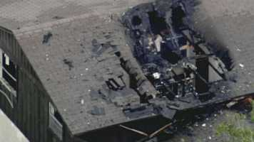 Lightning struck a home in Winter Springs on Monday afternoon, burning a hole in the roof.