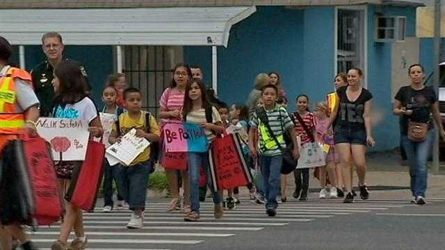 Use caution, it's Walk to School Day