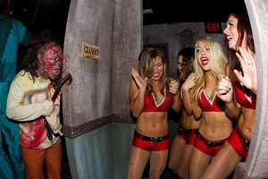 Tampa Bay Buccaneers cheerleaders dared to enter the haunted houses at the Dark Side of the Gardens at Howl-O-Scream.