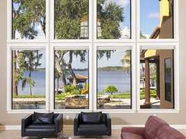 Windows, windows, windows taking in all that Lake Tibet Butler has to offer.