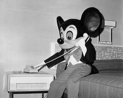 """""""What do you mean I can't get into Le Cellier?  Do you know who this is?"""" is how Neal caption this picture of Mickey at Disney's Contemporary Resort."""