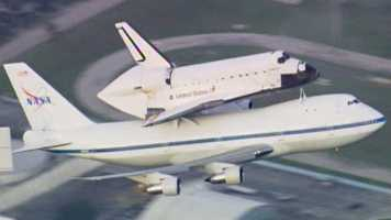 Endeavour's send-off: The last space shuttle to leave the Space Coast, Endeavour, flies away and back of a jet. See the images.