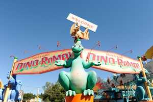 Disney's Animal Kingdom is home to the huge dinosaur foot.  The foot is apart of the welcome to Chester and Hester's Dino-Rama!  Did you guess correctly?