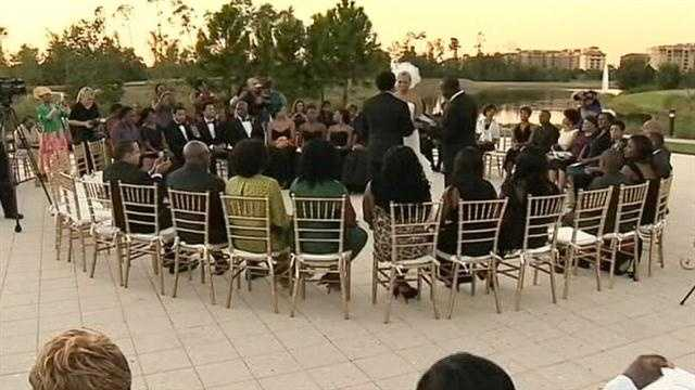 Just after Hurricane Sandy flooded their home, a couple from Brooklyn, New York took a bus to tie the knot at Walt Disney World.