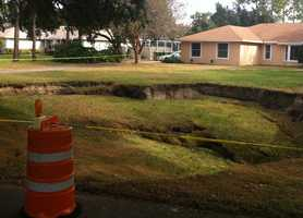 A huge sinkhole opened up in a Windermere neighborhood on Wax Berry Court.