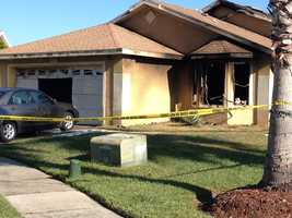 A man suffering a gunshot wound is found outside a burning home.