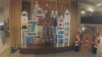 The design of the display was inspired by the art of Disney legend Mary Blair, who designed the mural in the Contemporary concourse.