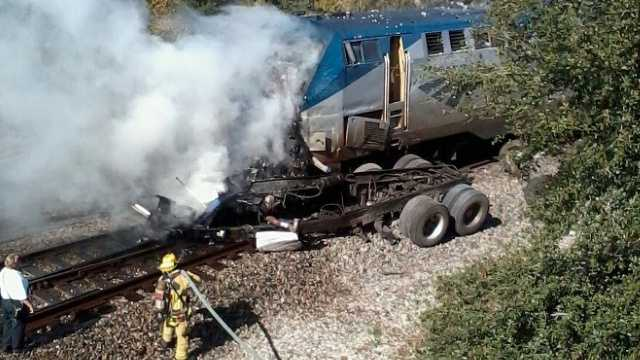 Fire and rescue crews were called to a serious crash involving an Amtrak train and a vehicle about 11 a.m. Thursday.